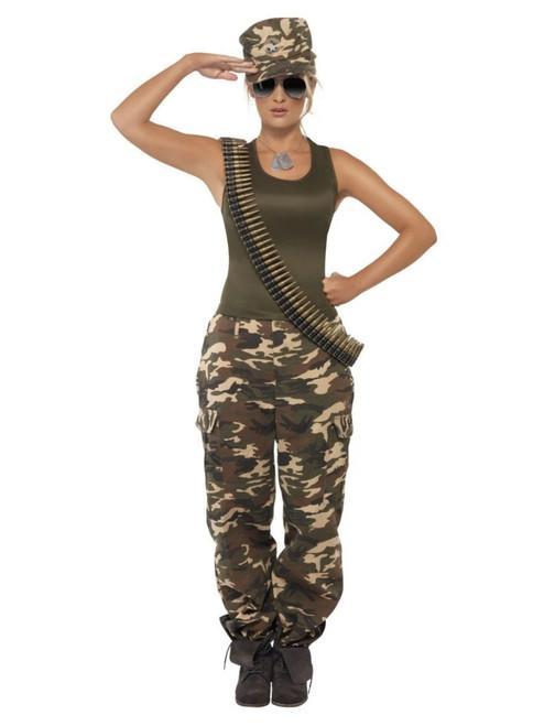 "40"" Khaki Green and Ivory Camo Women Adult Halloween Costume - Medium"
