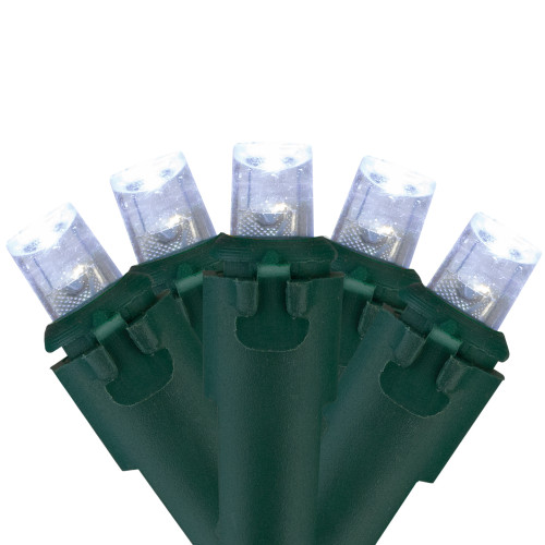 Northlight 100 White LED Wide Angle Christmas Lights - 33 ft Green Wire