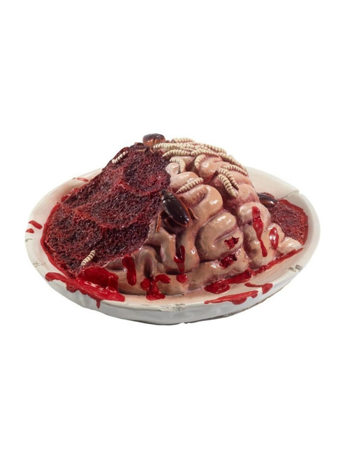 """27"""" Red and Ivory Gory Gourmet Rotting Brain Plate Prop Halloween Decoration"""