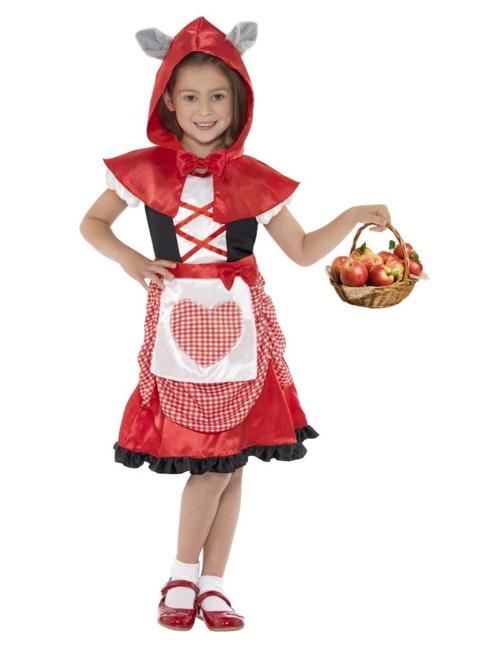 """50"""" Red and White Miss Hood Girl Child Halloween Costume - Small"""