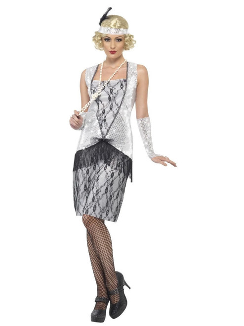 """50"""" Silver and Black Flapper Women Adult Halloween Costume - Small"""
