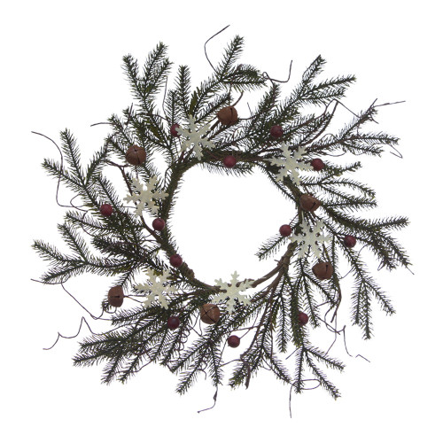 """Set of 4 6.5"""" Berry White Snowflakes and Brown Bell Spruce Candle Ring"""