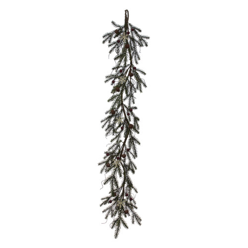 """48"""" Brown Berry with White Snowflakes and Bell Spruce Garland"""