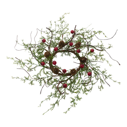 Set of 4 Red Berry and Green Cypress Candle Ring