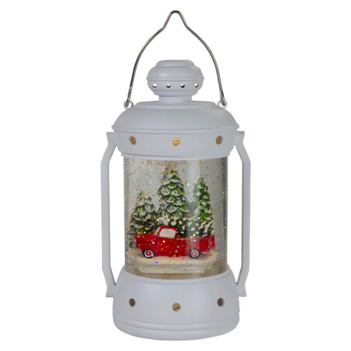 """9"""" White Lantern Christmas Snow Globe with Red Truck and Trees"""