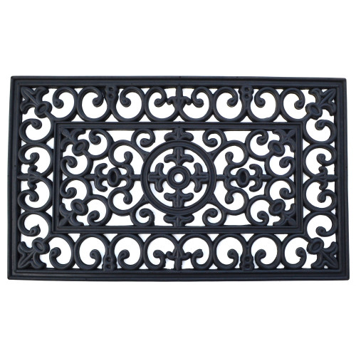 "Black Rectangular Skid Free Napoleon Themed Rubber Doormat 36"" x 24"""
