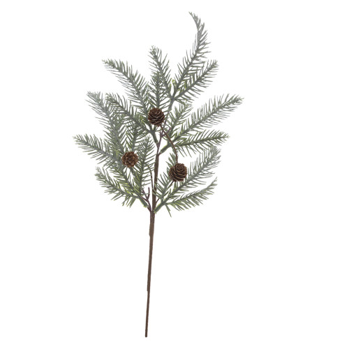 Set of 4 Green Spruce and Brown Cone Spray