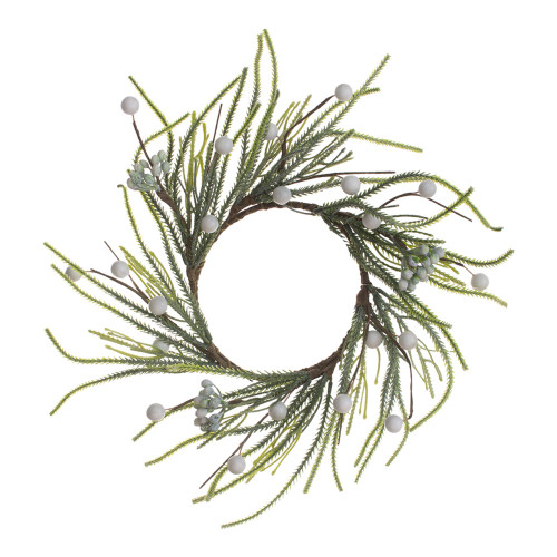 Set of 4 Green Finger Spruce and White Berry Candle Ring