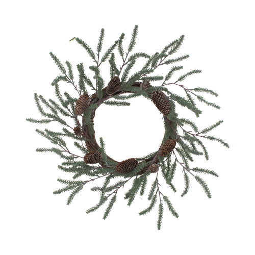 """22"""" Thin Green Spruce and Brown Cone Wreath"""