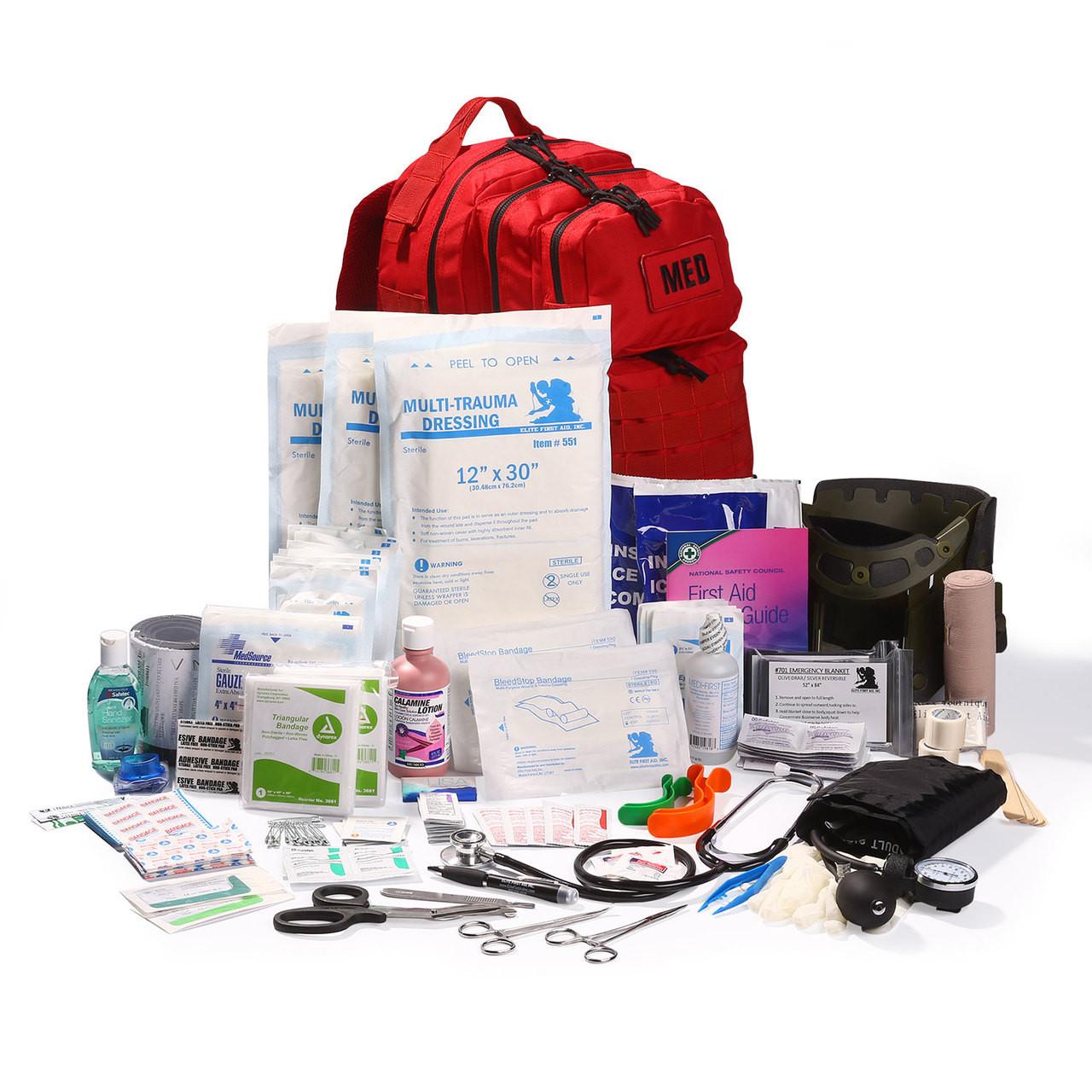 Elite Tactical Trauma First Aid Backpack - Full Kit