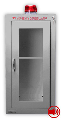 Tall Size Stainless Steel AED Wall Cabinet-Audible Alarm Strobe Light