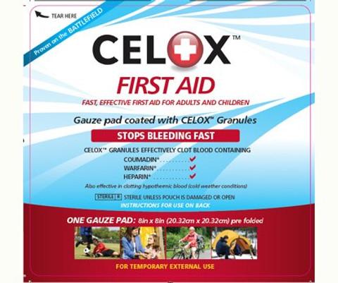 """Celox First Aid Hemostatic Gauze Pad - 8"""" x 8"""""""