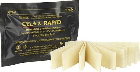Celox Z-Fold RAPID Hemostatic Gauze - Small Ribbon old packaging