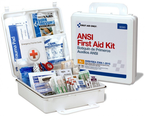 First Aid Kit Plastic Case - 50 Person (ANSI Compliant) open
