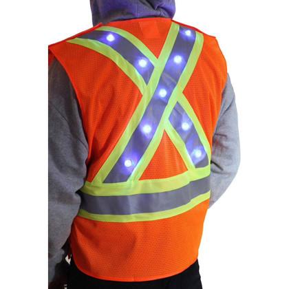 Majestic Class 2 LED X Back Reflective Vest back lights