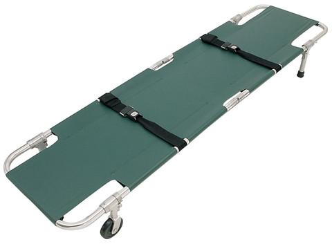 Junkin Easy-Fold Wheeled Stretcher - 2 Wheels Green