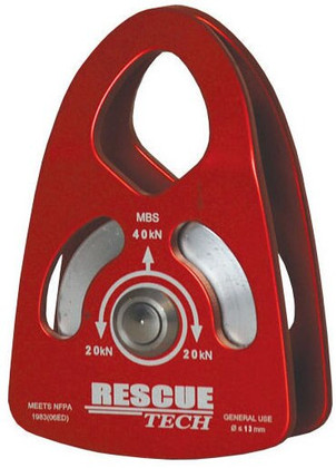 "Single NFPA Rescue Pulley - 2"" Red"