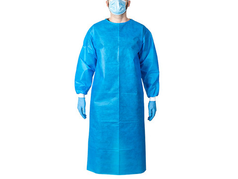 Blue Disposable Isolation Gown - Front