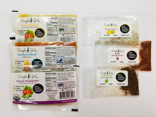 The sample pack has organic bbq sauce and dressings / marinades including sugar-free Southern Blend BBQ Sauce  and sugar-free  Sweet Vinaigrette and Sweet Mustard Dressings. BONUS -- we'll also throw in a couple of seasoning samples (non-organic)!