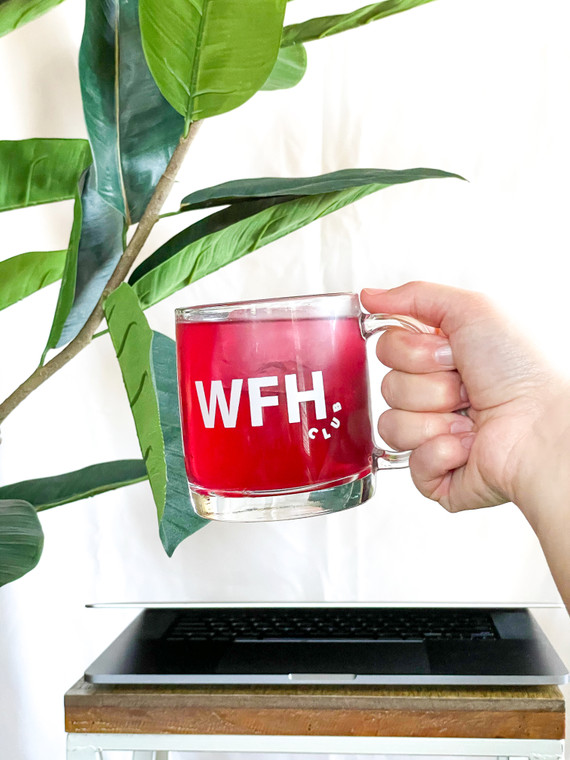 Clear mug with WFH club in white