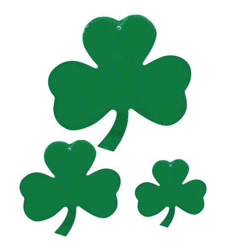 Bring the Shamrock's Luck to Every Room this St. Patrick's Day! It's the Perfect decoration for this time of year! The cutouts are made of foil cardstock and each package includes one 12 inch shamrocks One 9 inch shamrocks and one 4 inch shamrock.