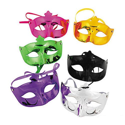 Plastic Mardi Gras Metallic Masks