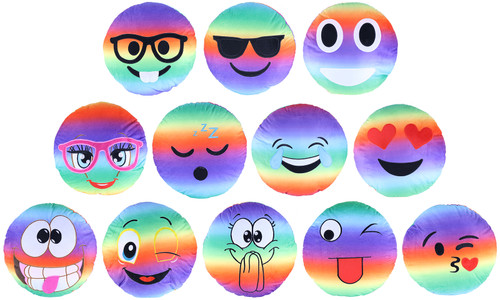 Plush Emoji Rainbow Pillow