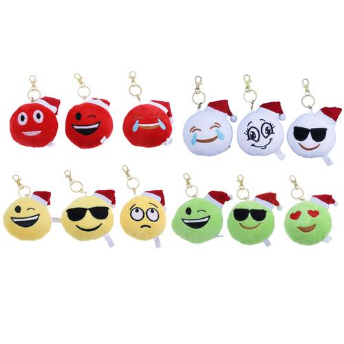 Plush Emoji Santa Hat Keychain