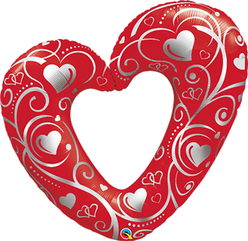 """Hearts & Filigree Red 42"""" Foil Balloon"""