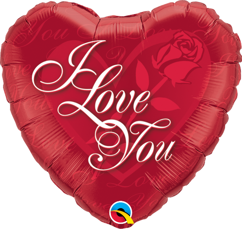 """I Love You Red Rose 18"""" Foil Balloon"""