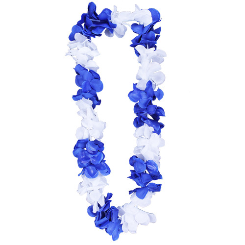 Blue & White Hawaiian Flower Lei