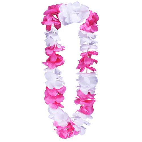Pink & White Hawaiian Flower Lei