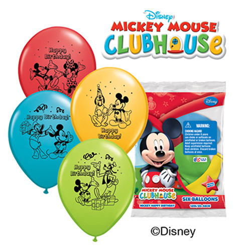 """Mickey Happy Birthday 12"""" Latex Balloon 6 Count"""
