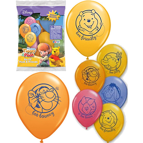 """Disney Winnie The Pooh And Friends 12"""" Latex Balloon 6 Count"""