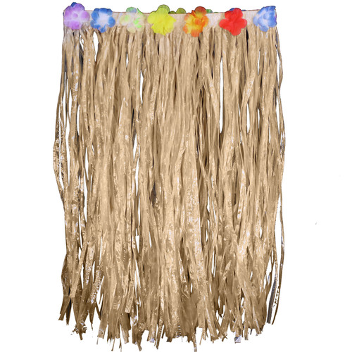 Adult Flowered Hula Skirts - Natural