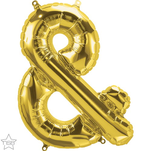 Ampersand 16 in - Gold Foil Balloon