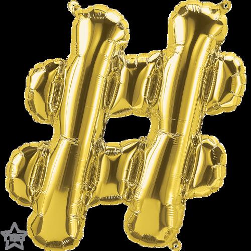 Hashtag 16 in - Gold Foil Balloon