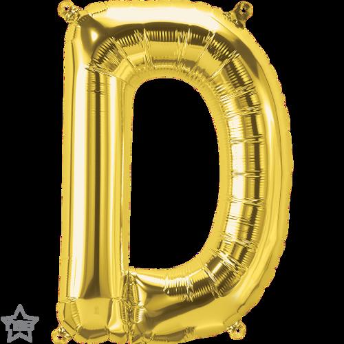 Letter D 16 in - Gold Foil Balloon