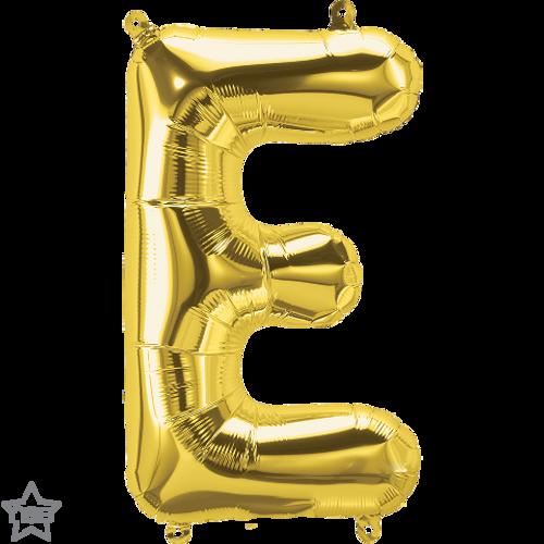 Letter E 16 in - Gold Foil Balloon