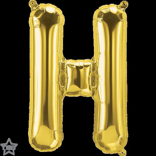 Letter H 16 in - Gold Foil Balloon