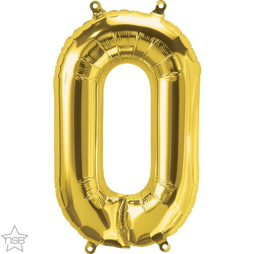 Number 0 16 in - Gold Foil Balloon