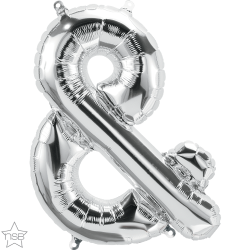 Ampersand 16 in - Silver Foil Balloon