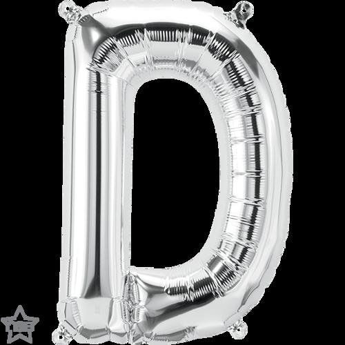 Letter D 16 in - Silver Foil Balloon