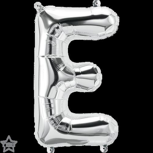 Letter E 16 in - Silver Foil Balloon