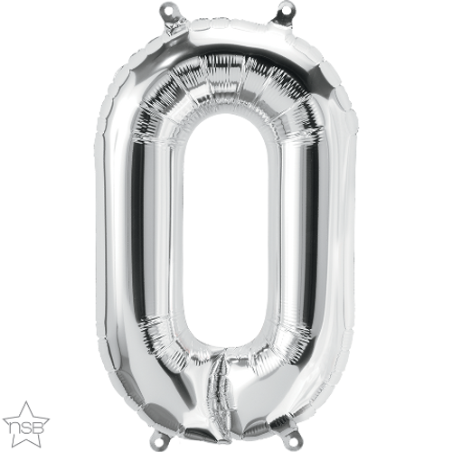 Number 0 16 in - Silver Foil Balloon