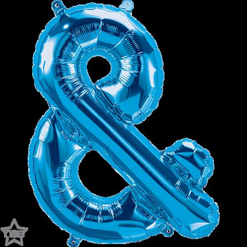 Ampersand 16 in - Blue Foil Balloon