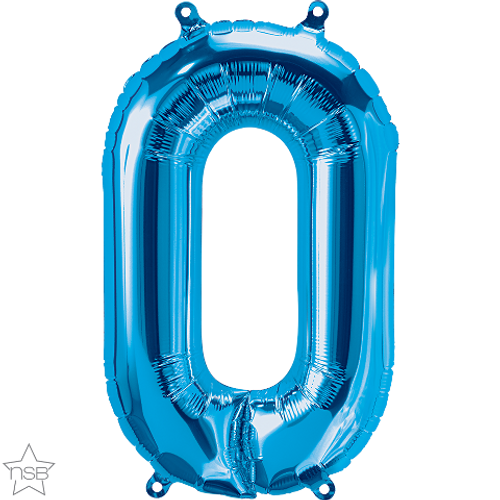 Number 0 16 in - Blue Foil Balloon