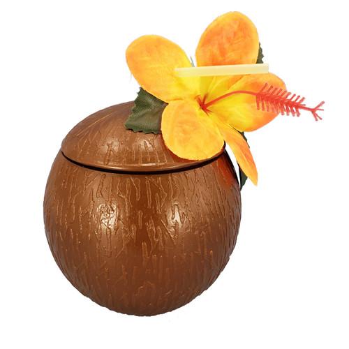 Coconut Cup w/ Lid & Straw