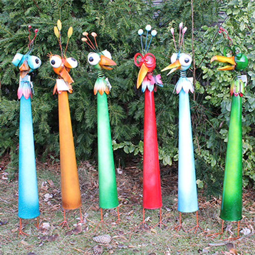 Large Metal Birds With Feet Bobble Head Garden Accent