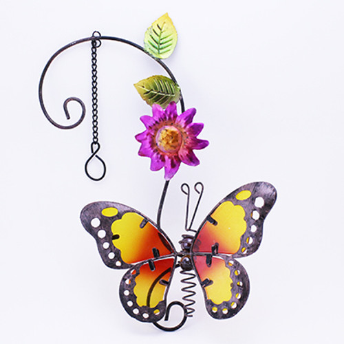 Stain Glass Metal Butterfly Hanging Decor With Chain